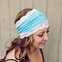 Turquoise and Lace Knit Headband by BglorifiedBoutique on Etsy