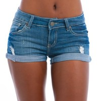 MOD 20 Women's Embroidered Pocket Cuff Denim Shorts Denim Light 0(FCS0290SHA)