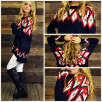 Glass Mountain Navy Oversized Sweater