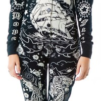Tattooed Skelly Footed Pajamas