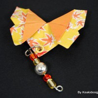 Orange/ Yellow Origami Buttterfly Brooch | KeakiDesigns - Jewelry on ArtFire
