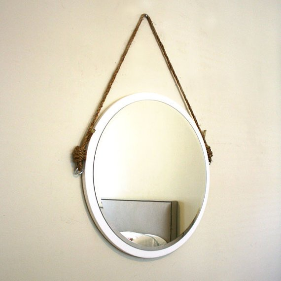 round white rope mirror nautical mirror from pinkpianos cccoe. Black Bedroom Furniture Sets. Home Design Ideas