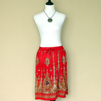 Red Gypsy Skirt: Knee Length Boho Indian Skirt, Hippie Skirt, Bohemian Floral Sequined Cover Up