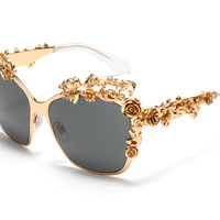 Dolce & Gabbana Women Sunglasses Barocco Collection - Butterfly Frame in Gold