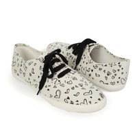 Scribbled Heart Lace-Up Tennis Shoes | FOREVER21 - 2002929129