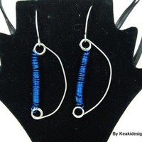 Driving in Blue Wires Earrings | KeakiDesigns - Jewelry on ArtFire