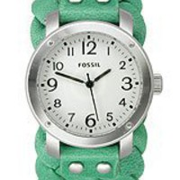 Amazon.com: Fossil Woven Leather Cuff Women's watch #JR1305: Watches