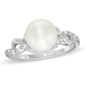 8.5 - 9.0mm Cultured Freshwater Pearl and 1/10 CT. T.W. Diamond Ring in Sterling Silver - View All Rings - Zales