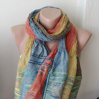 Saffron orange blue mixcolor Long Scarf Shawl with by Periay