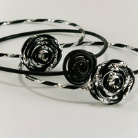 Stacking Bracelets Set of 3 Black and Black and Silver Rose Aluminum