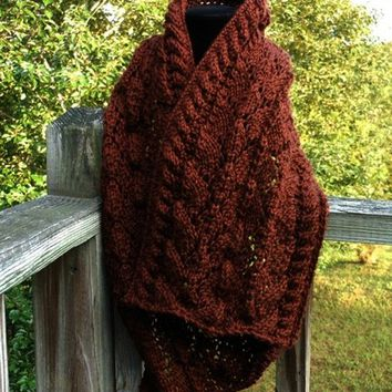 Chocolate Cables and Lace Scarf