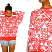 Vtg Tribal Pink & White Knitted Cotton Grandpa by LuluTresors