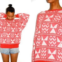 Vtg Tribal Pink &amp; White Knitted Cotton Grandpa by LuluTresors