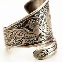 Vintage Victorian Dragon or Griffin Sterling Silver Spoon Ring, Handmade in Your Size (4555)