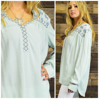 Autumn Breeze Mint Embroidered Long Sleeve Top