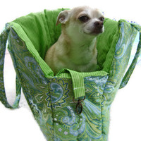 Paisley Green & Blue Pet Travel Purse by CuddlePupPetbeds on Etsy