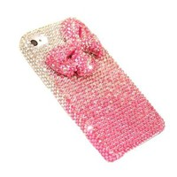 Shiny Pink Bowknot Rhinestone Handmade Hard Cover Case for Iphone5