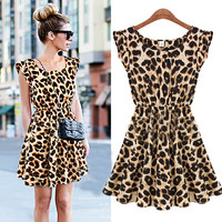 A 071833 aaa Casual Leopard Slim Dress26