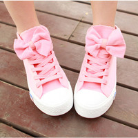 A 082606 aaa High Help Lovely Bowknot Canvas Shoes