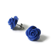 Blue Roses, Blue Rose Earrings, Blue Rose Jewelry, Blue Earrings, Polymer Clay, Blue Earring, Hypoallergenic, Blue Earings, Clay Earings