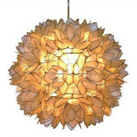 Capiz Shell Floral Pendant Light - White: Home Improvement