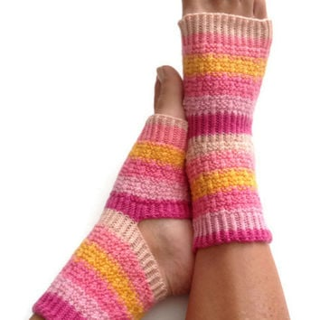 Yoga Socks Hand Knit in Peachy Pedicure Pilates Dance