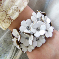 women or girl white leather with flowers leather by braceletcool