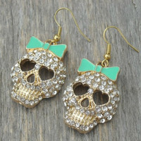 Skull Earrings, Skull Jewelry, Bow Earrings, Bow Jewelry, Mint Green, Gothic, Pastel Goth, Lolita, Cute, Kawaii, Goth, Gold Earrings,