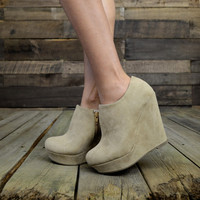 City Chic Taupe Suede Wedge Booties