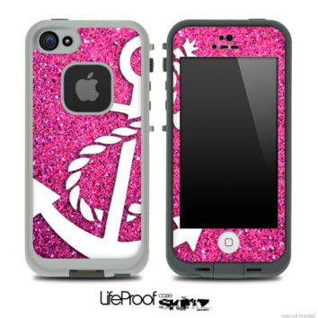 Pink Sparkle White Anchor Skin for the iPhone 5 or 4/4s LifeProof Case - iPhone