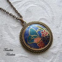 Butterfly Blue Necklace with Vintage Cloissone