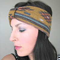 Tribal print Headwrap, Fall Headwrap, Bohemian Wide Stretchy headband, Turban headband, earwarmer