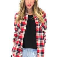 BIRCH PLAID FLANNEL SHIRT - Red