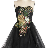 Chi Chi London Vintage Inspired Mid-length Strapless Ballerina Perfect Poise Dress in Peacock