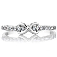 Elle's CZ Infinity Charm Petite Stackable Ring Band:Amazon:Jewelry
