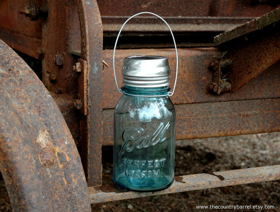 Hanging Antique Blue Mason Jar Solar Light by TheCountryBarrel