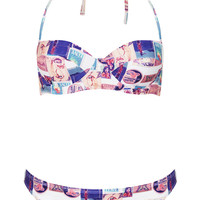 Cream Postcard Print Longline Bikini - Swimwear - Clothing - Topshop USA