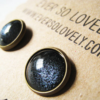 summer nights and starry skies- sparkly black earrings by EverSoLovely