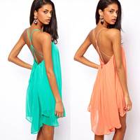 2354 bb Back thin strap metal buckle cross hollow sleeveless solid color chiffon dress