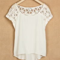 A 071008   Stitching lace chiffon shirt