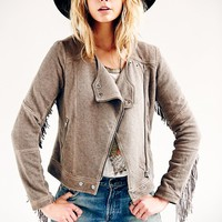 Free People Fringe Moto Knit Jacket