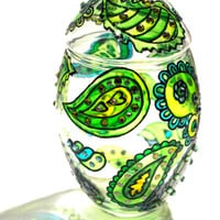 Hand Painted Glass Jar With Lid, Chrysolite, Paisley | Luulla