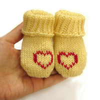 Personalised baby socks thin wool baby booties pastel yellow creme color with red hearts choose size newborn to 12 month