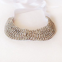 Rhinestone Collar Necklace, Jewelry, crystal bib rhinestone necklace, Statement , peter pan collar, wedding necklace,