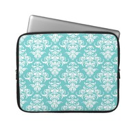 Blue damask pattern vintage girly chic chandelier laptop sleeves
