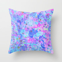 TIME FOR BUBBLY, AGAIN - Pastel Turquoise Baby Blue Purple Pink Feminine Bubbles Abstract Painting Throw Pillow by EbiEmporium