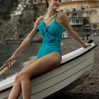 Teal Ruched One-Piece Swim Suit with Bow
