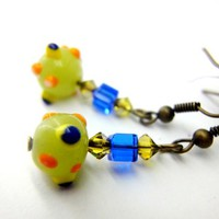 Fun vibrant lime green blue orange dots octopus crystals earrings