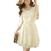 Allegra K Women Faux Pearl Decor Scoop Neck Sleeveless Mini Dress Beige XS