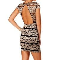 Pre-Order: Black Lace Cap Sleeves Dress